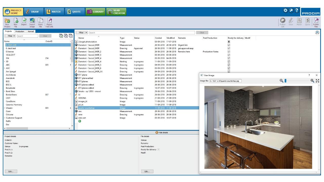 Capture d'écran - Logiciel Prodim Factory - Page d'accueil des projets