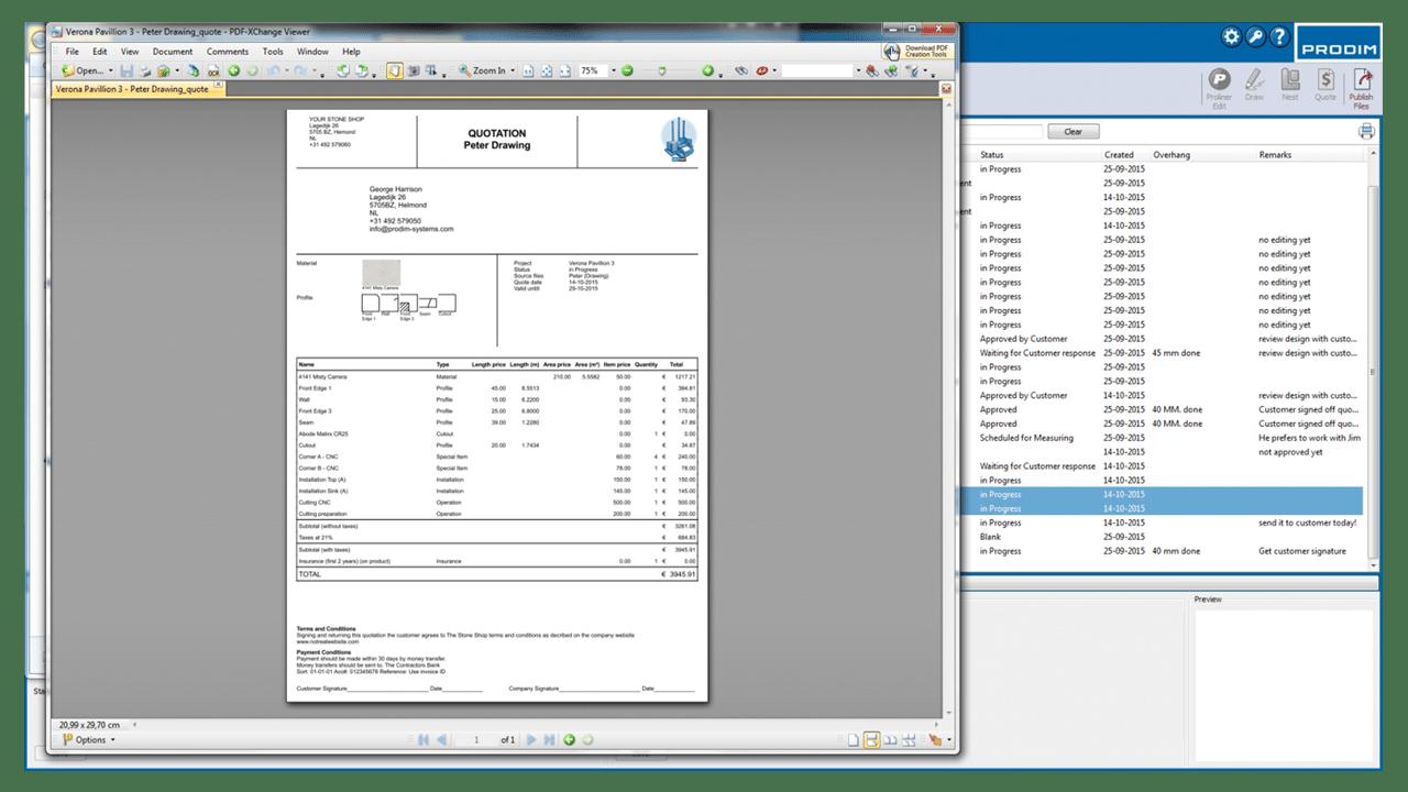 Capture d'écran - Logiciel Prodim Factory - Devis