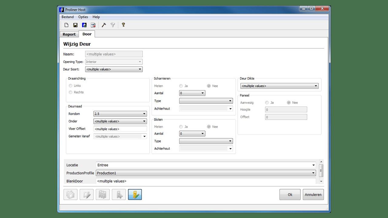 Capture d'écran - Logiciel Prodim Proliner Door