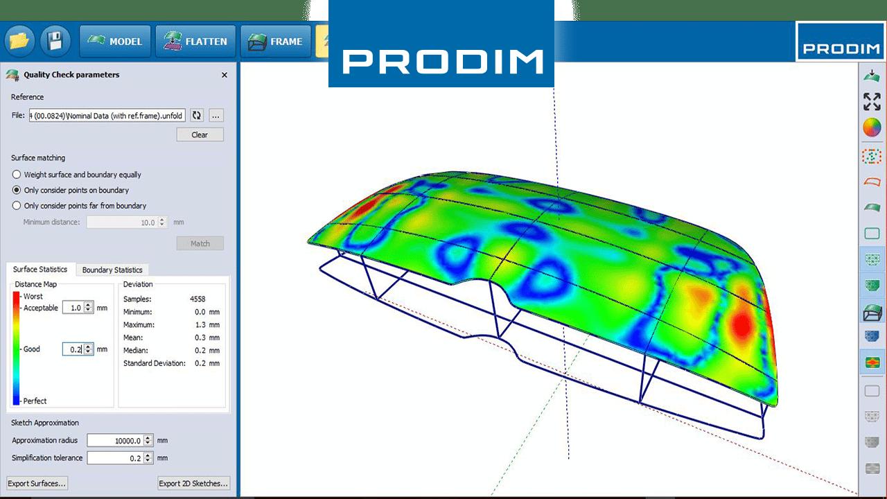 Solutions complètes de modélisation numérique Prodim - Logiciels industriels dédiés à une application - Capture d'écran du logiciel Prodim Bent Glass