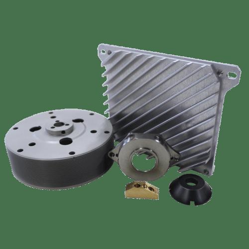Image représentant divers exemples de produits fabriqués par la société d'usinage IMPA Precision - Membre de Prodim Group