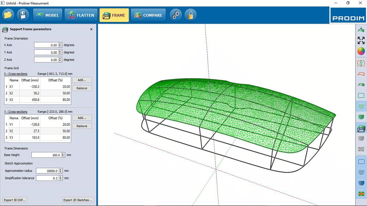 Capture d'écran - Logiciel Prodim Bent Glass - Encadrement