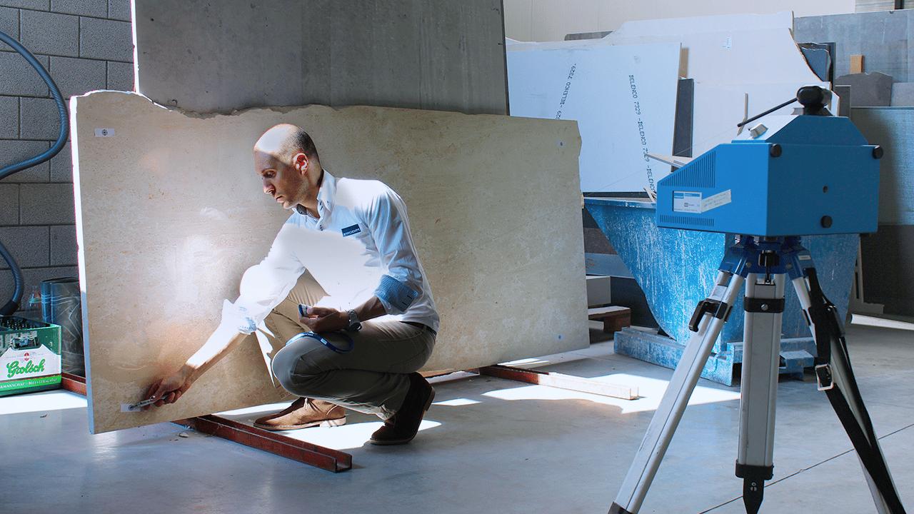 Solutions industrielles Prodim dédiées à la pierre - Modélisation numérique de dalles en pierre