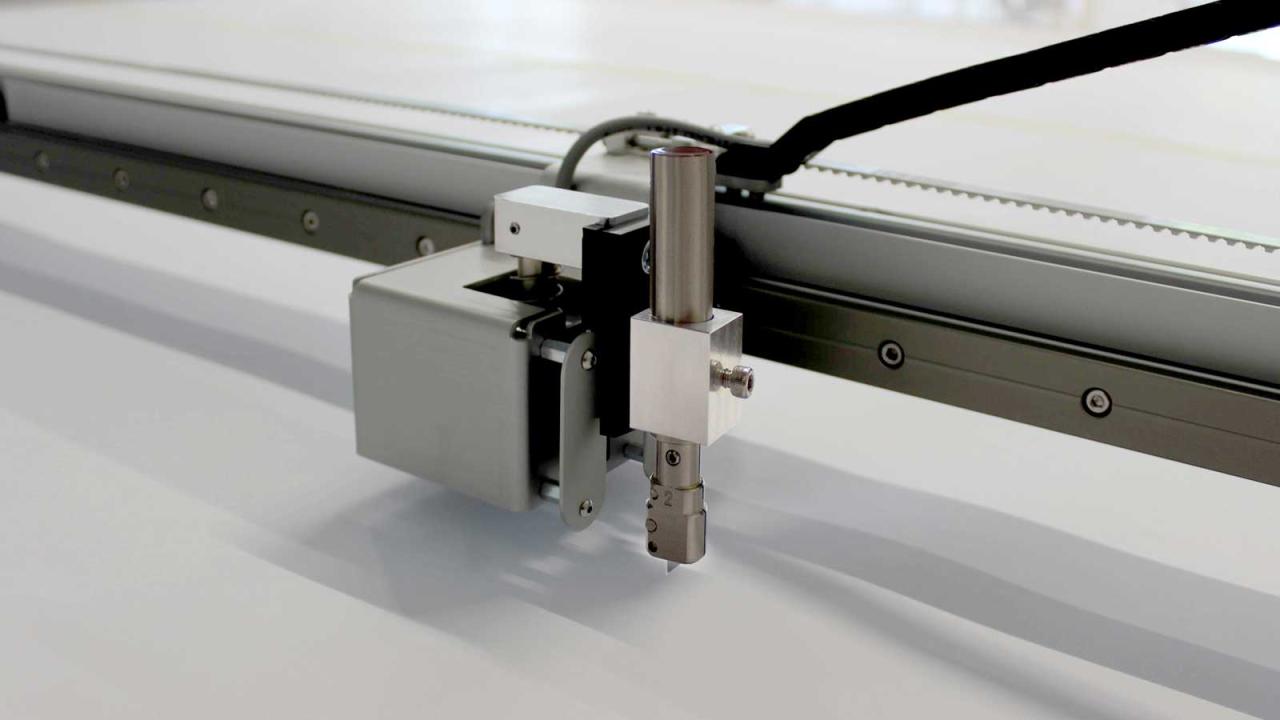 Image du traceur Prodim avec option de coupe affichant le porte-couteau et le couteau