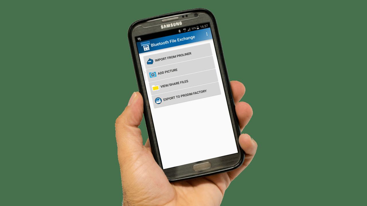 Applications du Prodim pour smartphone - File-Transfer